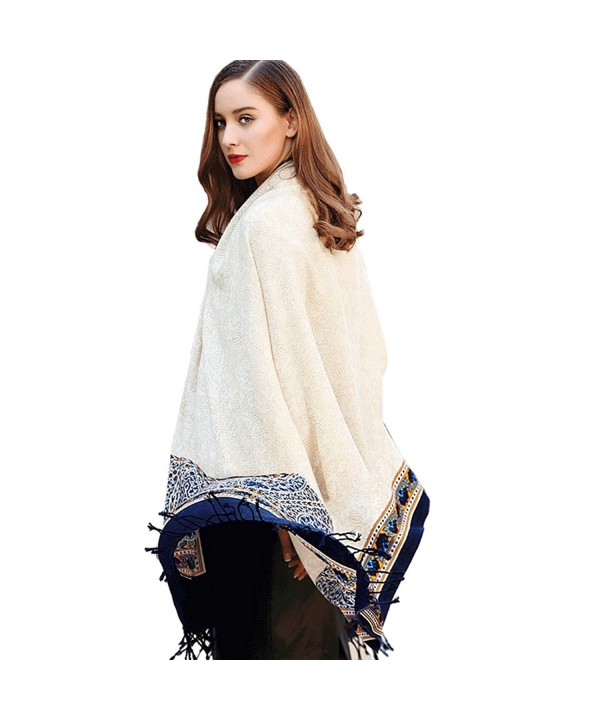 DANA XU 100% Pure Wool Women Winter Large Scarf Pashmina - White - CD1800G7I8O