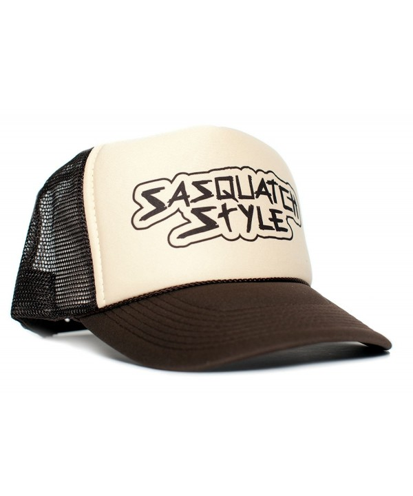 Sasquatch Style Gone Squatchin trucker hat One-Size Unisex Multi Color Selection - Tan/White/Brown - CA12O32JGNF