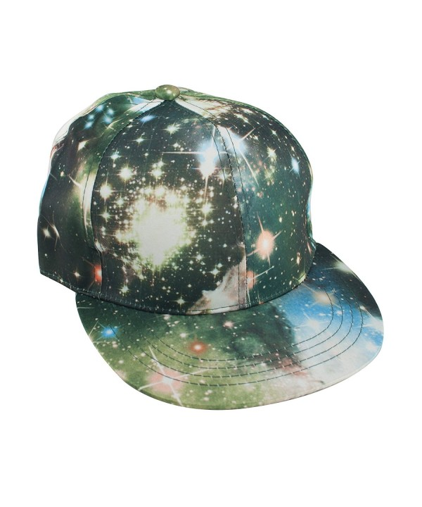 TopTie Unisex Snapback Hat / Flat Bill Baseball Cap- With Space Galaxy Printed - Green - CU125Q961F9