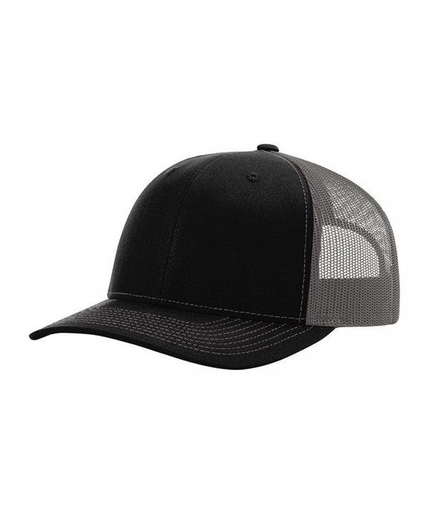 Richardson 112 Mesh Back Trucker Cap Snapback Hat - Black/Charcoal - CI12E6DPELD