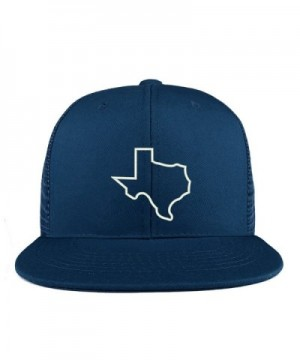 Trendy Apparel Shop Texas State Outline Embroidered Cotton Flat Bill Mesh Back Trucker Cap - Navy - C6185YHONHD