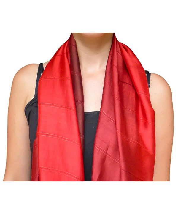 Unique Wrappable Silk Scarf. Handmade Blue Silk Scarves Wrap - Red - C212MEKJ7LX