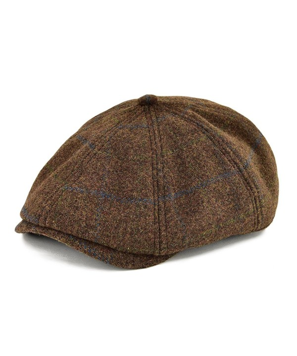 VOBOOM Men Wool Newsboy Caps 8 Pannel hat Pannel Ivy Cap Cabbie Flat Cap - Brown - CJ1836AER6D