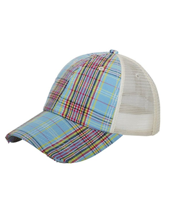 Corona Collection Women's Plaid Mesh Cap Low Profile - Blue - CH12DLPSEXH