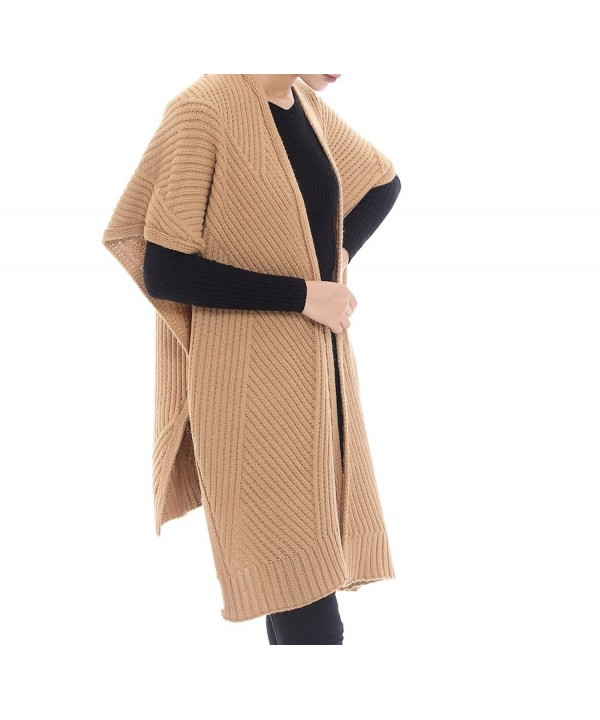 Bruceriver Women's Knitted Wool Feel Open Front Poncho Wrap Cardigan Sweater Topper - Camel - CL18623N898
