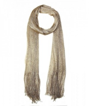 LOF Women's Metallic Net Oblong Scarf with Fringe- 20x68- One Size - Gold - C0182LY9XWK