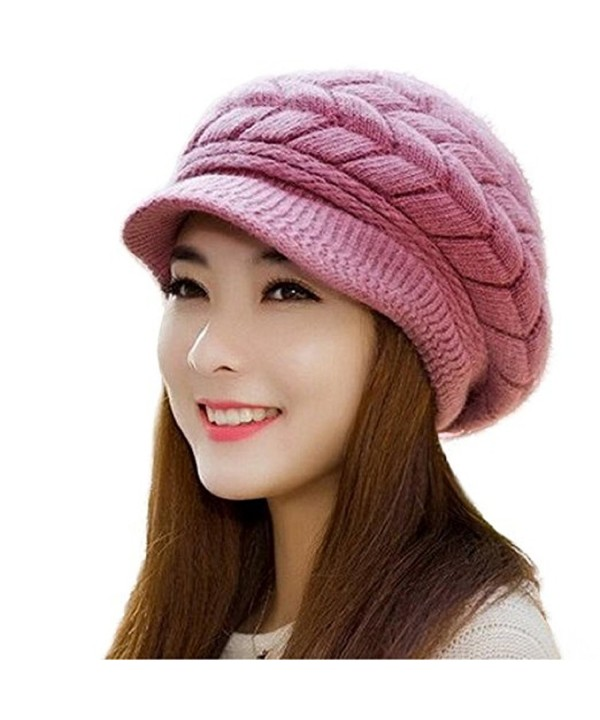 AutumnFall Fashion Womens Winter Warm Flower Knit Crochet Beanie Hat Cap Beret - D - CK12OCI2B5Y