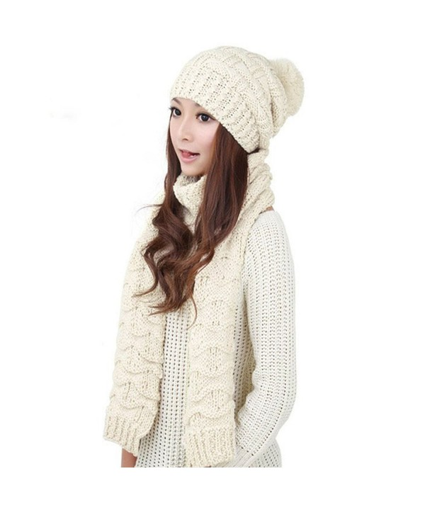 Qingsun Lady Women's Lady Girl Scarf and Hat 2pcs Set Knitted Winter Warm Skull caps Thicken Beanie Cap() - White - CC12NE1ZV36