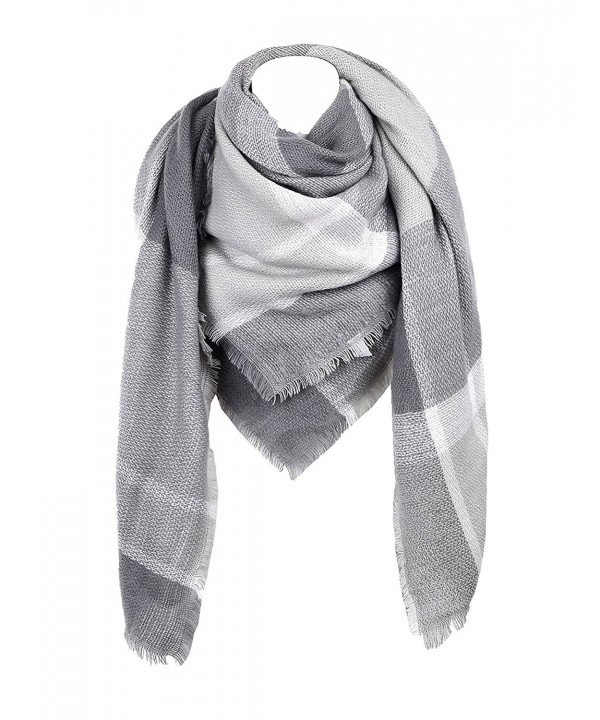 Cozy Checked Plaid Blanket Scarf - Soul Young Tartan Stylish Cape Wrap Shawl for Women and Men - Grey - CL12L5JPB7D