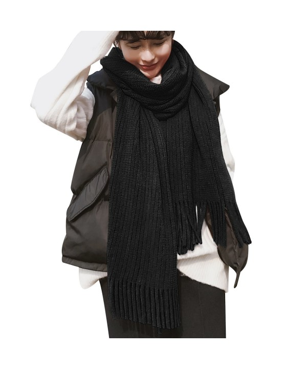Luxspire Women's Soft Cashmere Feel Winter Tassel Solid Color Scarf Shawl - Black - C7188HQNS6D