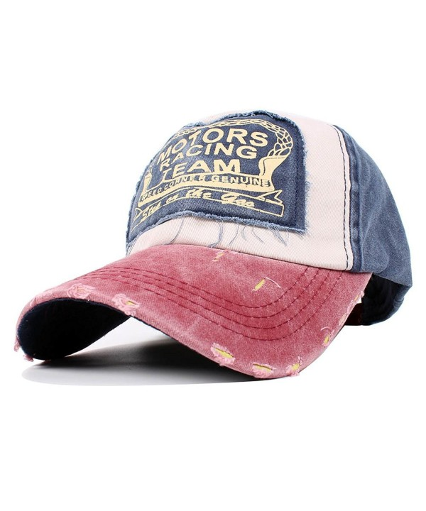 Vankerful Vintage Washed Denim Cotton Sports Baseball Cap For Women and Men - Burgundynavy - CS185ZX589L