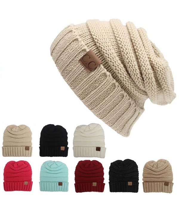 K-Elewon Trendy Warm Chunky Soft Stretch Cable Knit Beanie - Beige - CO1879SIMA4
