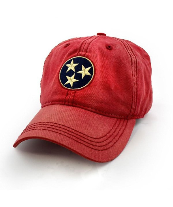 Tennessee Flag Tri-Star Hat- Vintage Red - C612N6D7RE9