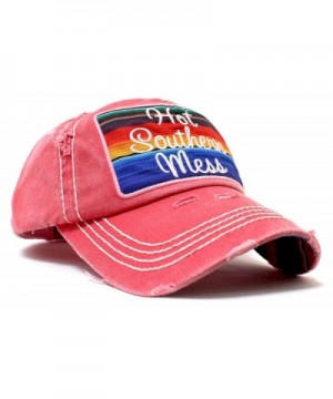 HOT SOUTHERN MESS Serape Distressed Cap w/ Back- Side Panel Detail - Red - CW17YADH9HK