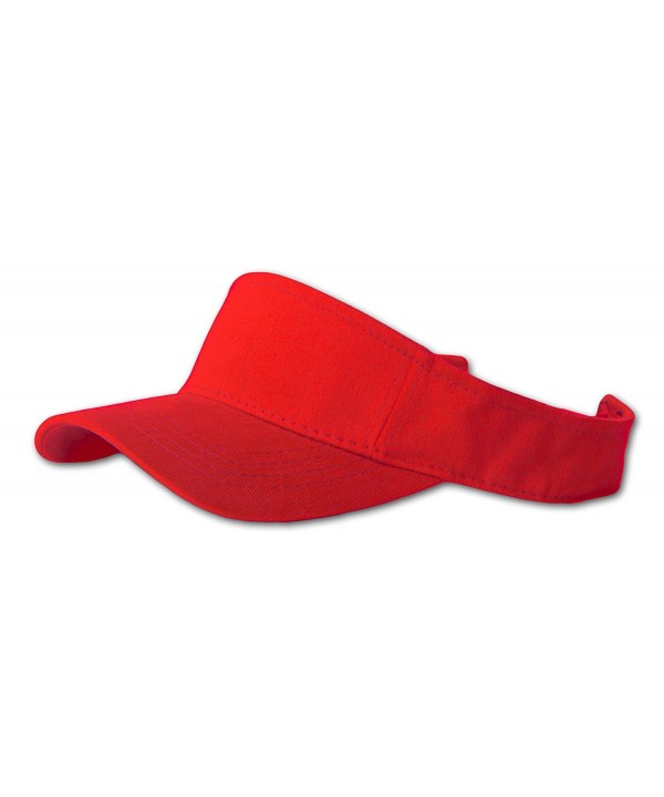 12 Lot (One Color) Visor Caps- Red - CL111Q32DN9