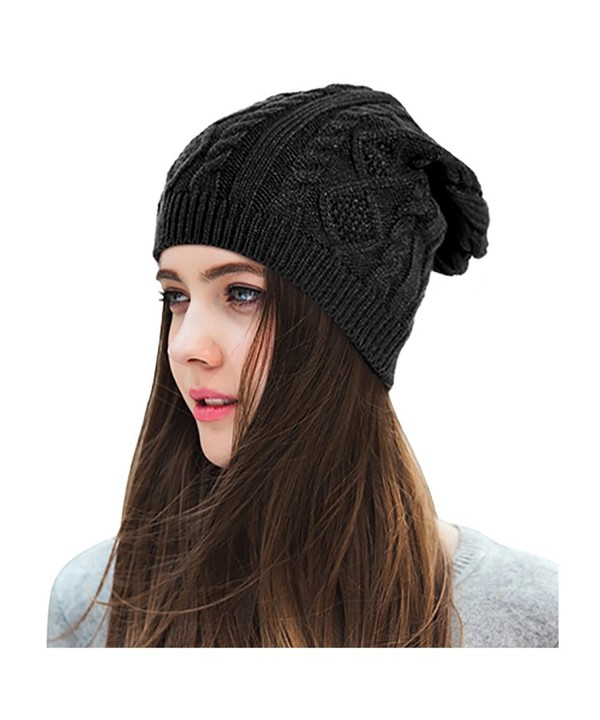 Lamdgbway Chunky Knit Beanie Stretch Unisex Braided Cable Slouchy Winter Hats Skip Cap - Black - C1187ETIE6A