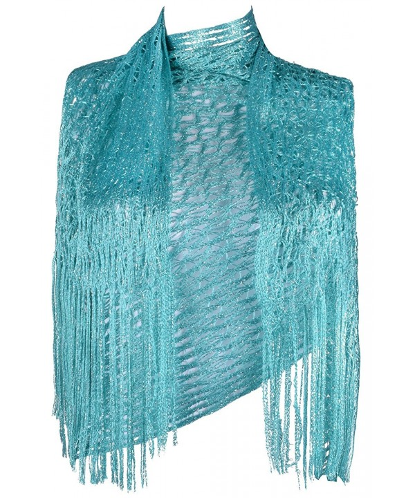 Women Fashion Scarves Glitter Sparkle Scarf Wedding Wrap shawl with Fringe - Turquoise - CT182Q43T94