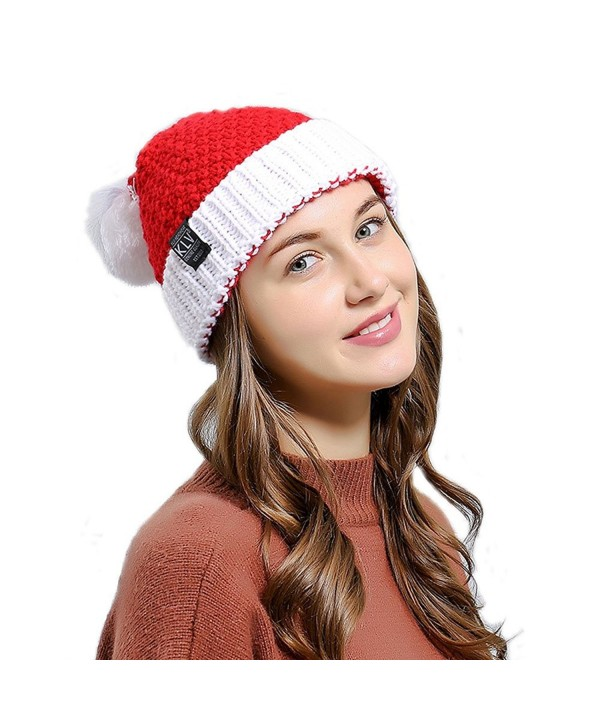 King Star Women Christmas Winter Knitted Crochet Beanie Santa Hat - Red - CW186M5O6HO