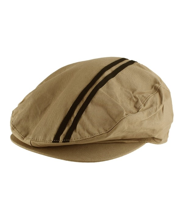Morehats Men's Women's Unisex 100% Cotton Double Striped Newsboy Cap Gatsby Hat - Tan - CB11LLY6VVD