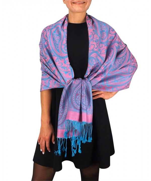 Peach Couture Womens Large Vintage Pashmina Paisley Jacquard Scarf Shawl Wrap - Pink and Turquoise - CJ128EX2CQV