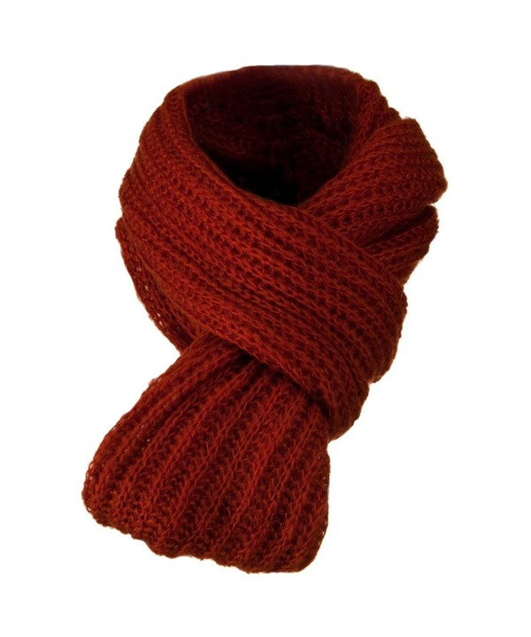 Knit Snood Solid Scarf - Rust W30S52E - CD11BKZYYMV