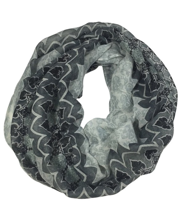 Moroccan Marrakesh Pattern Multi Color Lightweight Thin Poly Infinity Scarf - Black & White - CB12O4N95T3