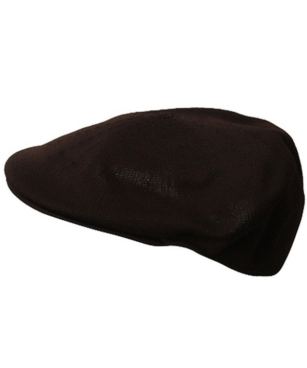 Mens Knitted Polyester Ivy Ascot Newsboy Hat Cap Brown - CE115W07ZRL