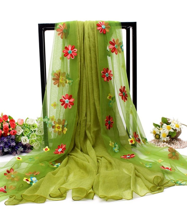 Women Useful Splice Long Embroidery Flowers Scarves Sunscreen Beach Towel Shawl - Olive - CR17AZKTHT4