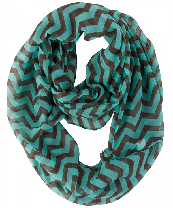 Chevron Infinity Loop Scarf - Mint/Brown - CS11IOH7FBZ