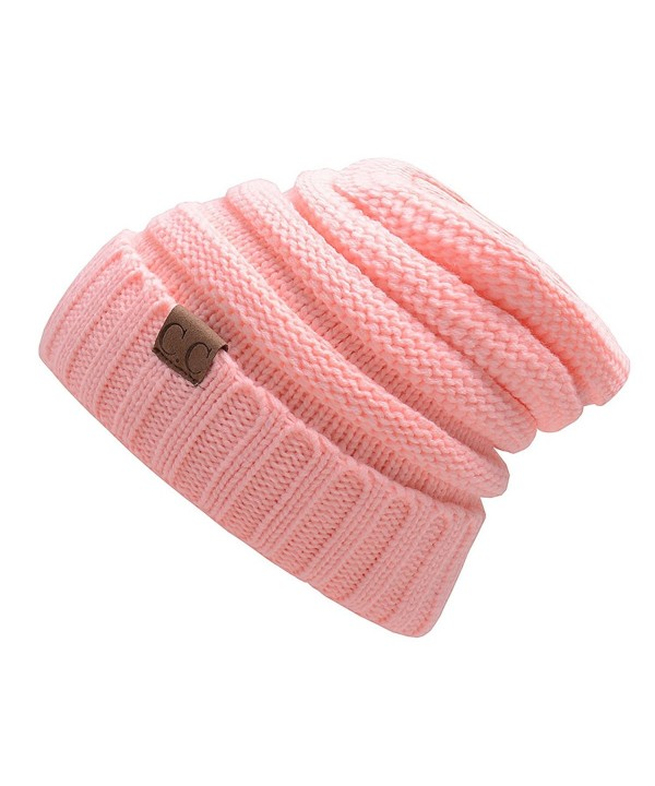kseey C.C. Trendy Warm Oversized Chunky Soft Oversized Cable Knit Slouchy Beanie - Pink - C5187EHGXMY
