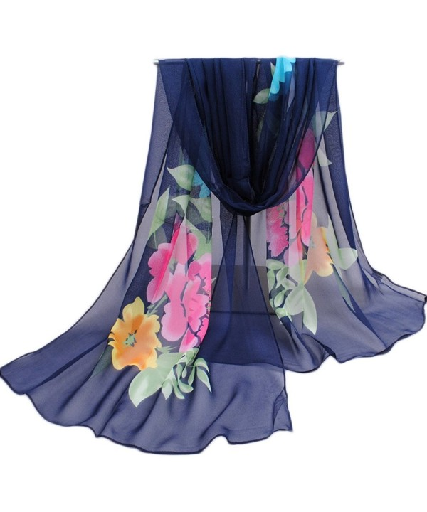 Premium Soft Chiffon Sheer Voile Shawl 16050CM Womens Neck Scarf - Navy Blue - CM182ZCU4DU