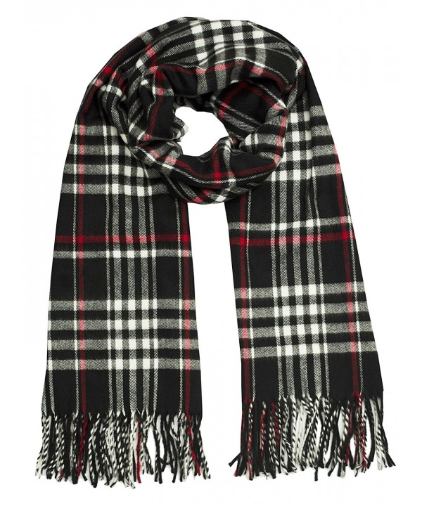 Vera Womens Plaid Scarf Cashmere Feel Made In Italy - Black - CH1883Y33ZS