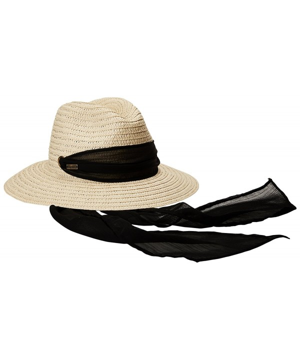 Betmar Women's Sierra Medium Brim Fedora - Natural/Black - CC12MYKG2L9