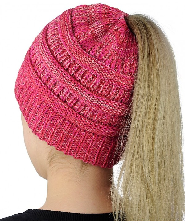 Muryobao Cable Knit Slouchy Beanie Unisex Slouchy Winter Hats Knitted Beanie Caps - Pink - C8188DZZH5O