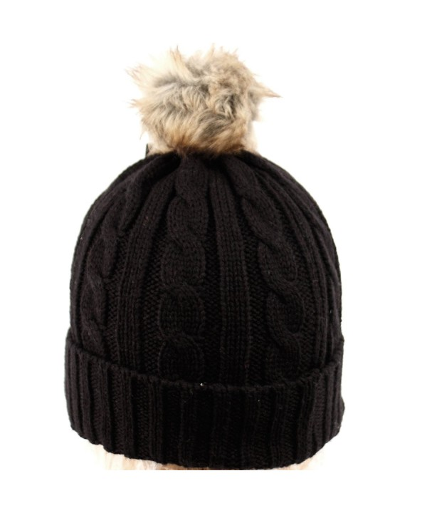 ANGELA & WILLIAM bn2144 Women's Thick Cable Knit Beanie Hat With Soft Faux Fur Pom Pom - Black - C112O18HJSO