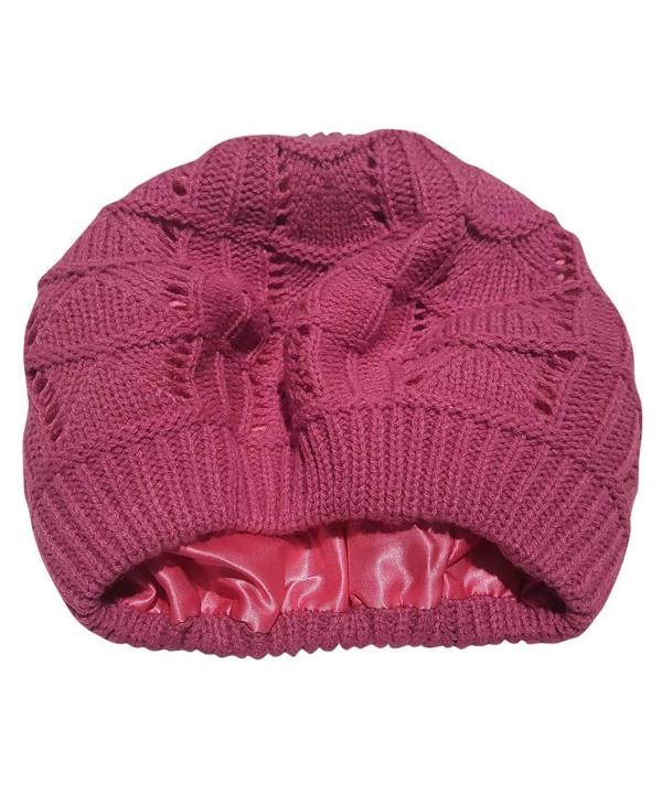Always Eleven Satin Lined Knit Beret Hat - Pink - CV12O0PJIK6