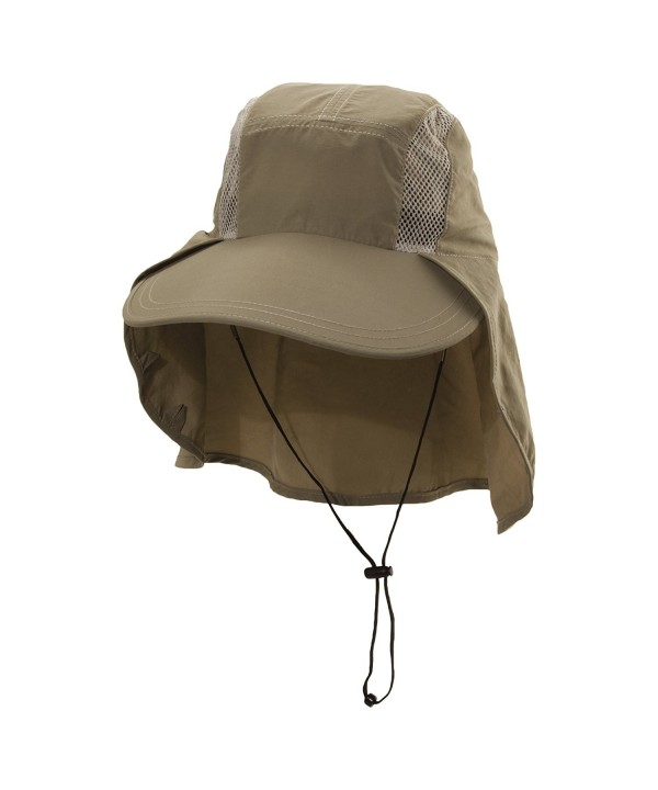 Dorfman Pacific Men's Big Brim Sun Shield Fishing Cap - Khaki - C412C3TGWEZ