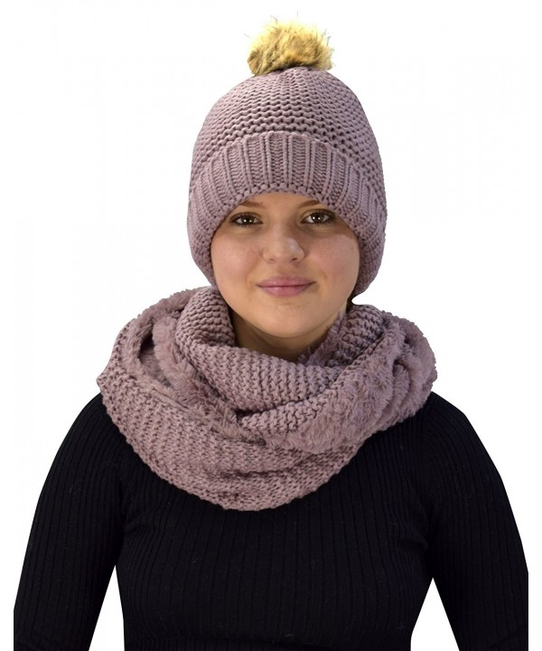 Peach Couture Thick Crochet Weave Beanie Hat Plush Infinity Loop Scarf 2 Pack - Dust Pink 90 - CR18847EN7K