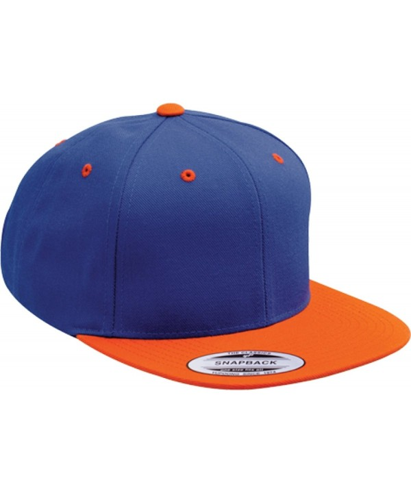 Yupoong Wool Blend Snapback Two-Tone Snap Back Hat Baseball Cap 6098MT (Royal / Orange) - CD119DKNAPB
