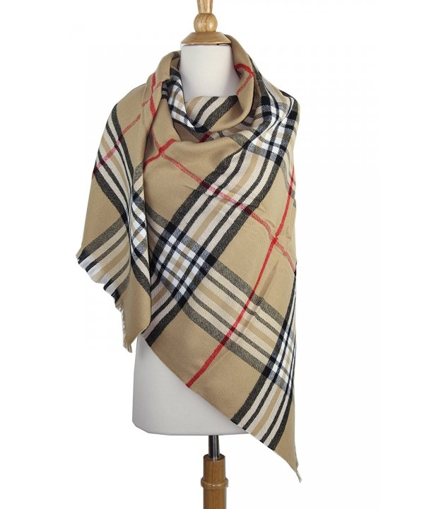 Achillea Women's Giant Check Plaid Cashmere Feel Blanket Scarf Winter Warm Square Shawl Wrap - Camel Plaid - C6186IA8E3W