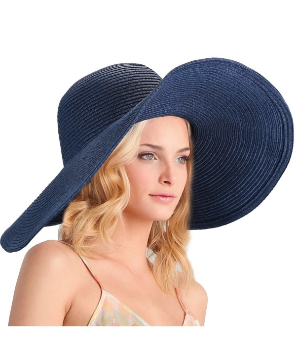 DAFUNNA Women's Ridge Wide Floppy Brim Sun Hat Beachwear Striped Straw Hat Foldable and Packable - Blue - CI189W8GDCN