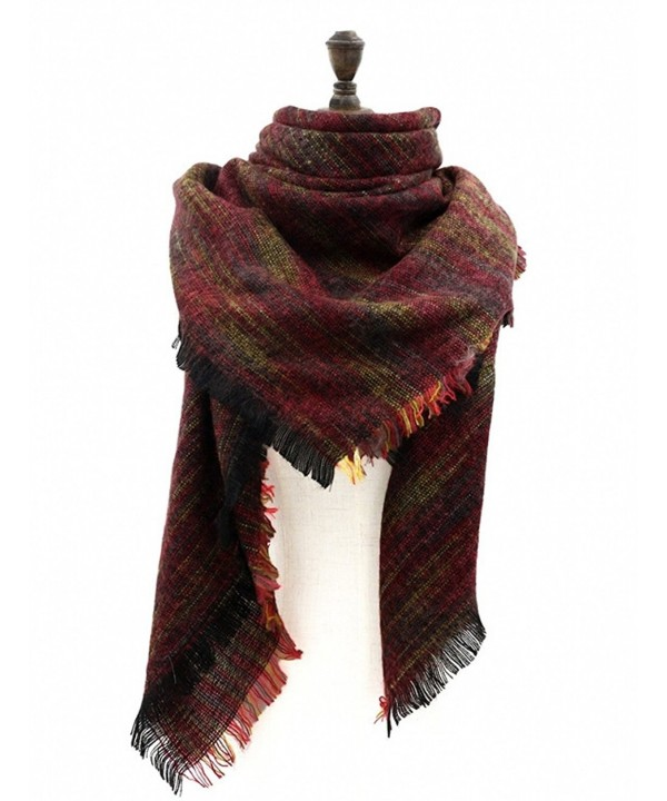 Women's Winter Warm Blanket Tartan Scarf Wrap Shawl Long Plaid Scarves Cozy Cape - 5  - C4186QCOWRD