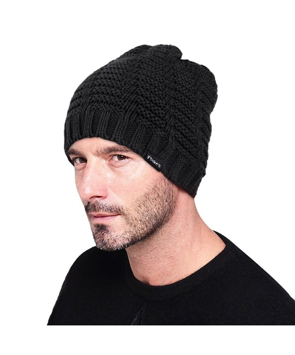 VBIGER Beanie Hat Knit Hat Winter Skull Wool Hat Windproof For Men & Women - Black - CP129L0E2OL