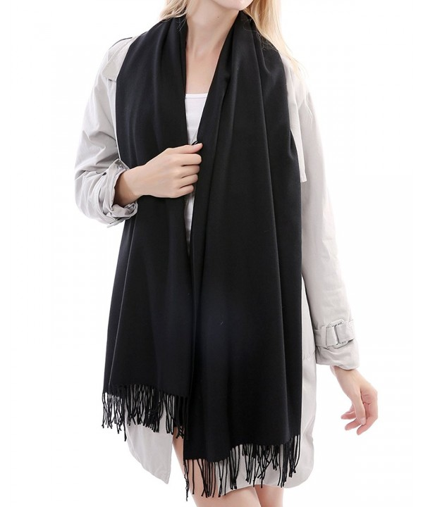 Vigeiya Solid Color Tassel Large Soft Shawl Cashmere Blend Blanket Infinity Scarf For Women - Black - CB1866USL29