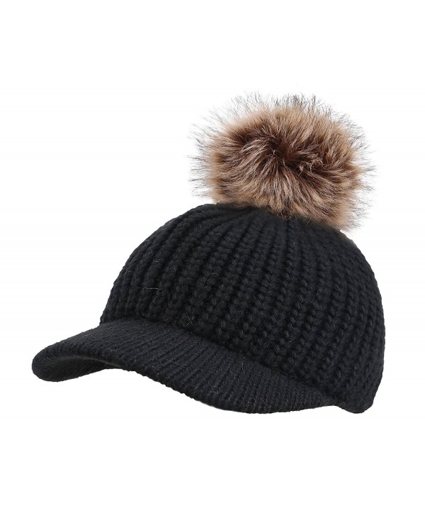 Arctic Paw Kids Cable Knit Beanie with Faux Fur Pompom and Brim Shade - Black - CW183OAL66S