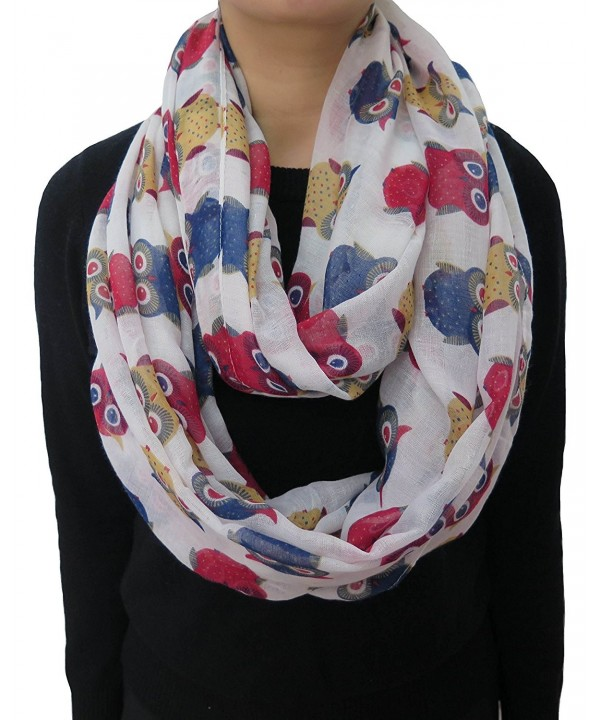 Lina & Lily Multicolored Owl Print Women's Infinity Scarf Lightweight - Beige - C211UC17JPX