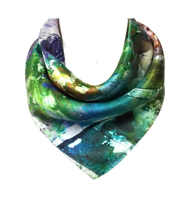 Allydrew Charmeuse Silk Neckerchief Square Scarves - Cities - CA11ZDW0VZ1