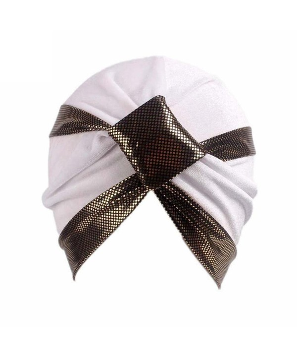 Qingfan Women Velvet Cancer Chemo Pre Tied Knitted Hat Beanie Scarf Turban Headband Elegant Wrap Cap - White - CD185W4QT9O