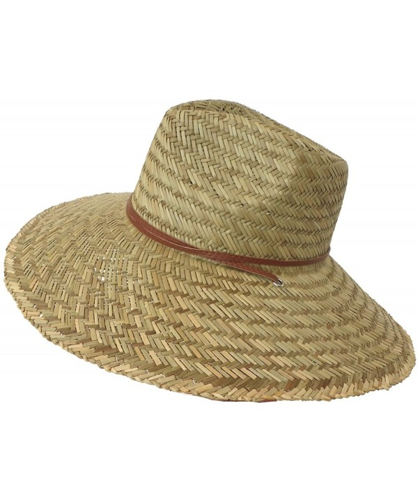 Super Wide Brim Lifeguard Hat Lindu Straw Beach Sun Summer Surf Safari Gardener - CF11XEMCN53