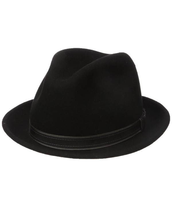 Country Gentleman Men's Clooney Fedora Hat With Contrast Band - Black - C5114ZZZSJV